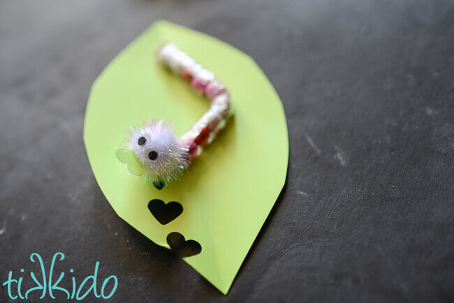 love Bug chocolate sixlet caterpillar on paper leaf with heart shaped holes valentine on black chalkboard background