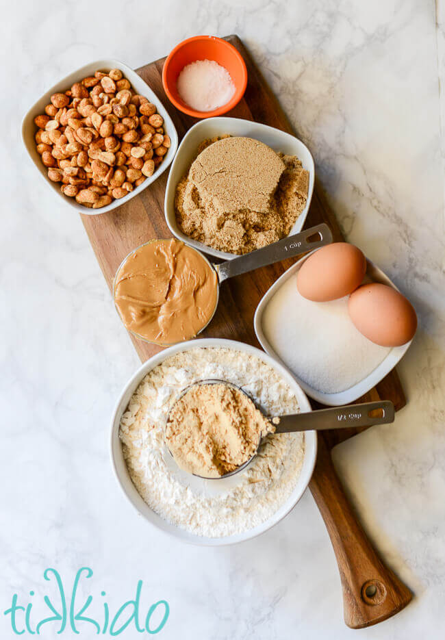 Ingredients for peanut butter bar cookies.