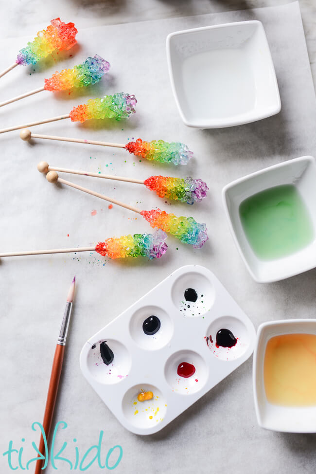 Rock candy being painted to make Rainbow Rock Candy