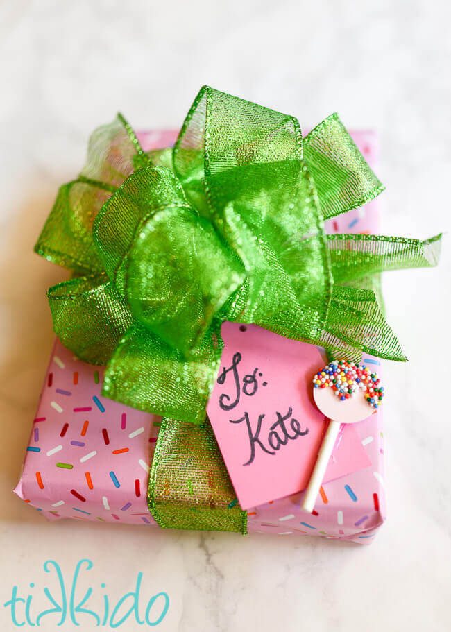 Sprinkle lollipop homemade gift tag