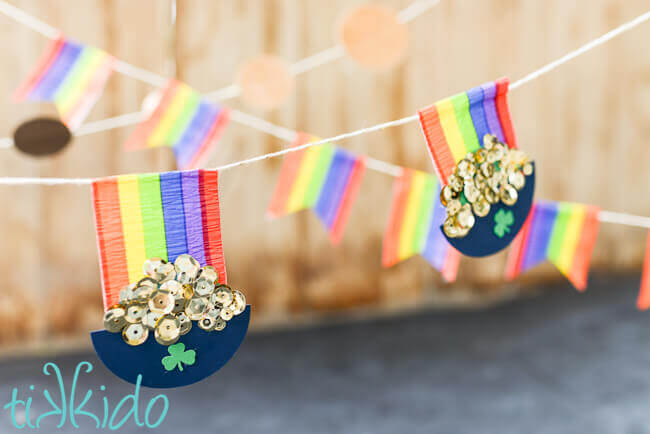 Three layered St. Patrick's day garland featuring rainbows and pots of gold.