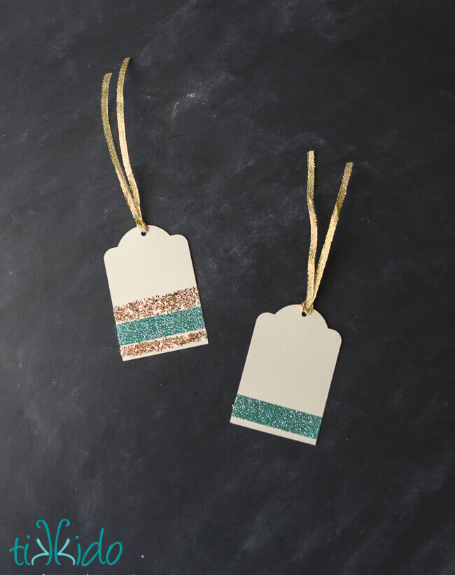DIY Gift Tags made with stripes of gold and aqua glitter.