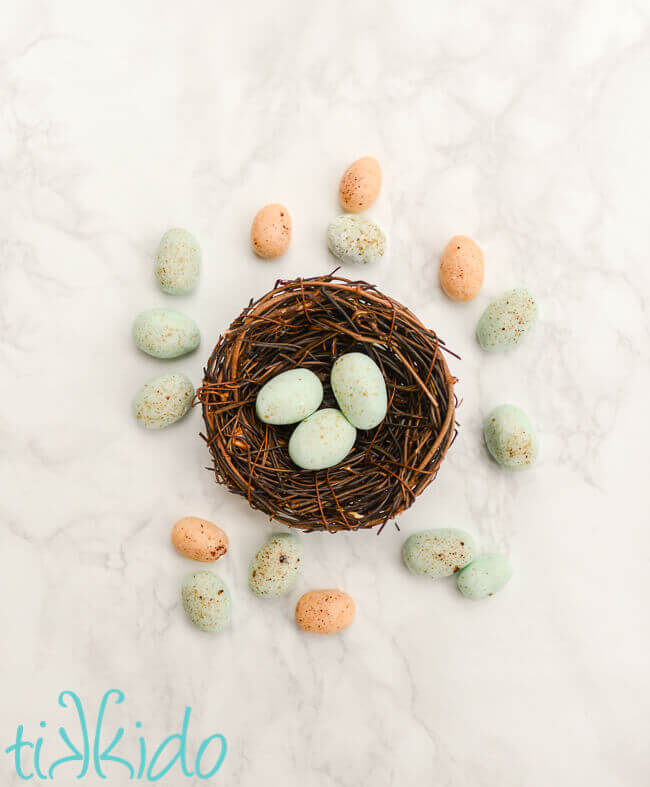 Cream cheese mints made to look like tiny birds' eggs for Easter and spring.