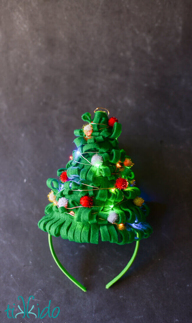 christmas tree hat tutorial for an ugly sweater party