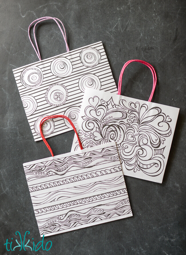 There Were Three Styles Of The Coloring Pages Gift Bags