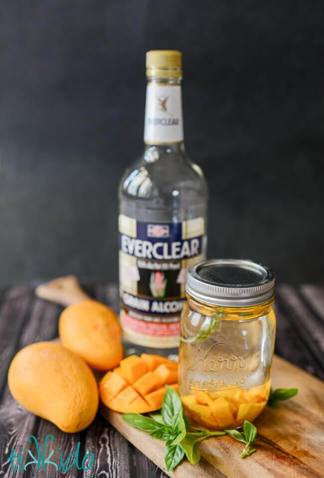Mango Thai Basil Infused Liqueur Tutorial and Siam Sunset Cocktail