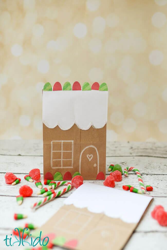 Easy Cute Gingerbread House Brown Paper Bag Packaging