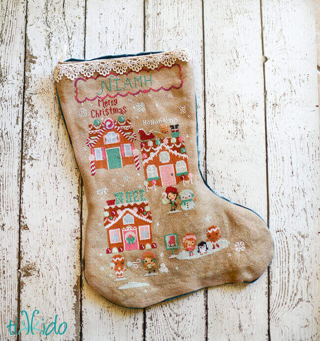 A gingerbread themed christmas stocking tikkido a cross stitch christmas stocking for my youngest my daughter niamh who is five i started this one in january so it only took 11 months solutioingenieria Gallery