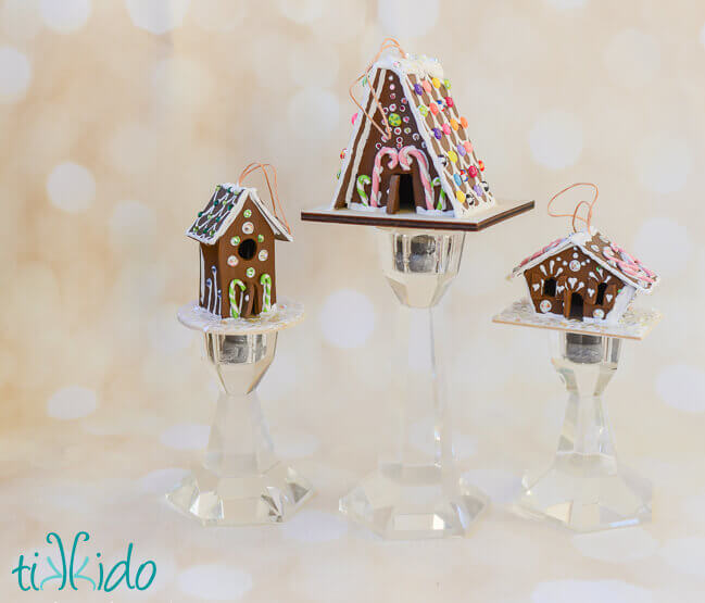 but as happy as any store bought gingerbread ornaments make me these ornaments that look just like the gingerbread houses i bake i love even more - Gingerbread Christmas Ornaments