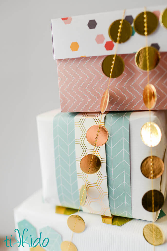 Scrapbook Paper Embellished Gift Wrap Tutorial Tikkido.com