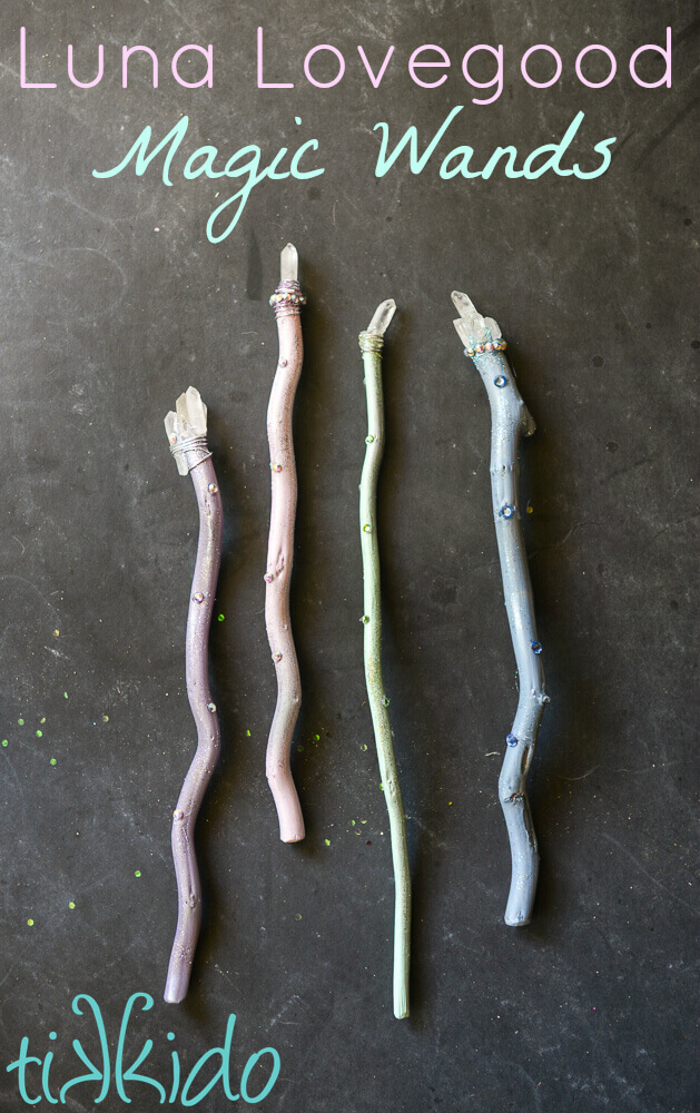 Four pastel, sparkly Luna Lovegood inspired Harry Potter magic wands topped with quartz crystals.