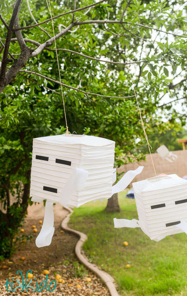 Easy Minecraft Ghast Paper Lantern Party Decoration Tutorial Tikkido Com