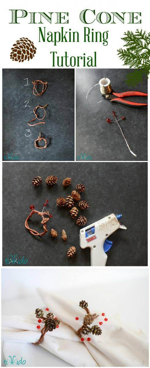 Collage of steps to make DIY pinecone napkin rings.