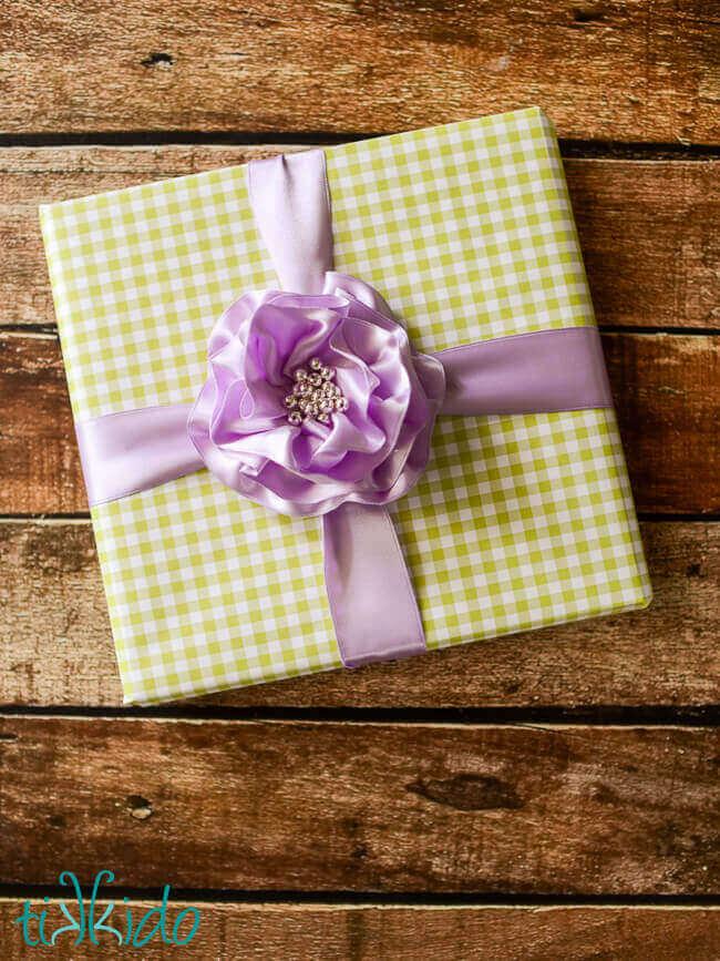 Ruffled ribbon rose spring gift wrap tutorial tikkido ruffled ribbon rose spring gift wrap tutorial mightylinksfo
