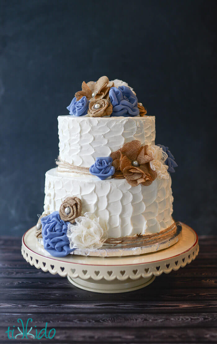 wedding cake elegant rustic rustic burlap and lace flower wedding cake tikkido 22566