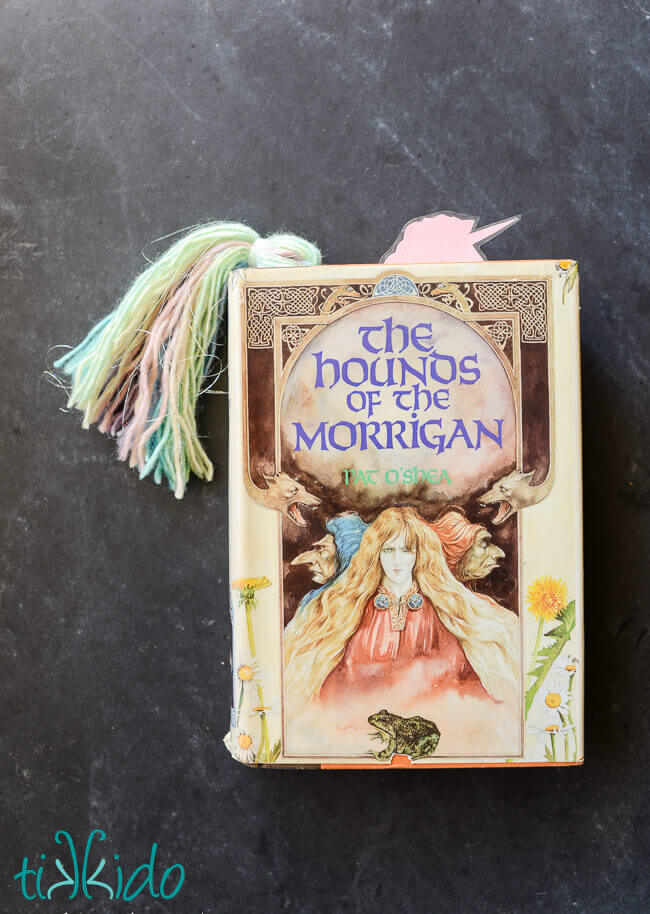 unicorn bookmark peeking out of The Hounds of the Morrigan book.