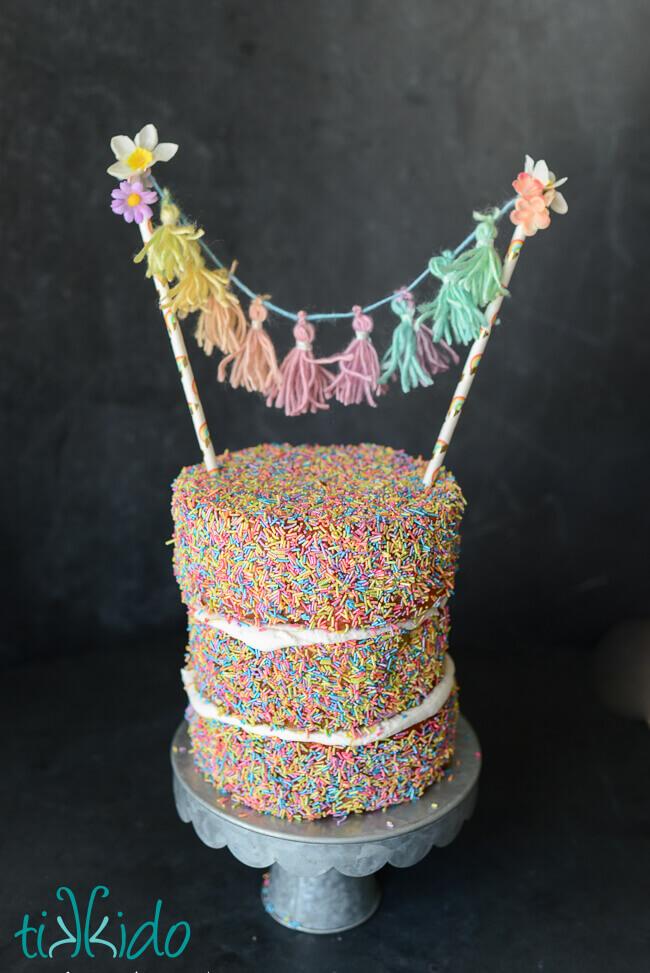 Rainbow Unicorn Tassel Bunting Cake Topper Tutorial