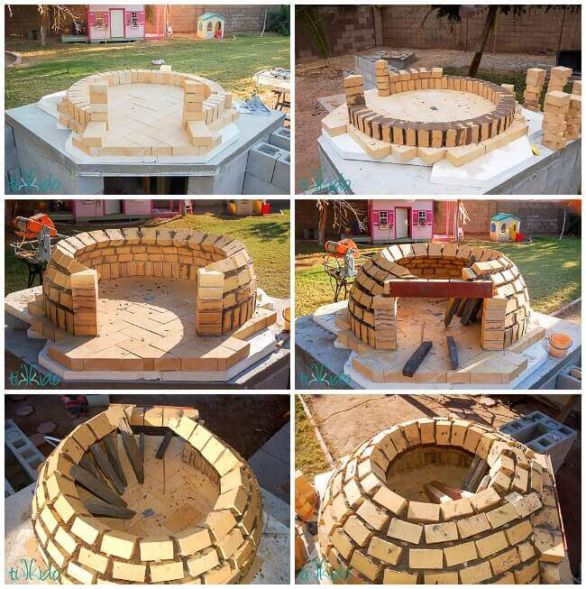 Collage of building the dome of the wood fired pizza oven with firebricks - How To Build A Wood Fired Pizza Oven Tutorial Tikkido.com